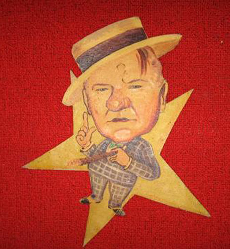 A W.C. Fields caricature from the Los Angeles Ambassador Hotel's Field & Turf Club. Bizarre Los Angeles