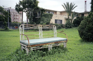 A bench on the Los Angeles Ambassador Hotel property before demolition. Bizarre Los Angeles