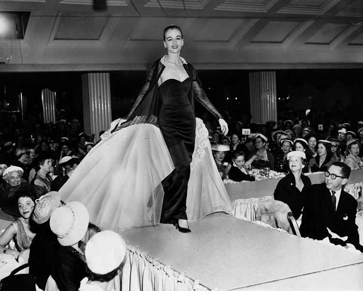 """Fashionations,"" a benefit fashion show-luncheon was held inside the Embassy Room on March 12, 1956, by the Theta Sigma Phi. Over 1000 people attended. (Bizarre Los Angeles)"