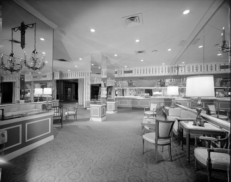 Ambassador Hotel lounge area, circa September 1964. Photographer: Maynard L. Parker (1901-1976). Bizarre Los Angeles