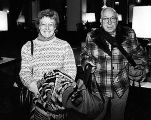 Bill and Betty Szeden were among the final guests to check out of the Ambassador Hotel in 1989. The hotel closed on January 3. Photographer: Michael Haering / LAPL 00055441 (Bizarre Los Angeles)