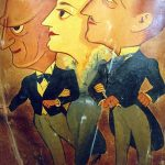 Caricatures of the Barrymores: Lionel, Ethel and John, from the Ambassador Hotel's Field & Turf room. John Barrymore lived for quite awhile inside the hotel's Siesta Bungalow in the mid to late 1920s. (Bizarre Los Angeles)