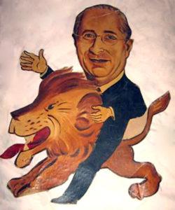 Louis B. Mayer caricature from the Ambassador Hotel's Field & Turf Club. (Bizarre Los Angeles)