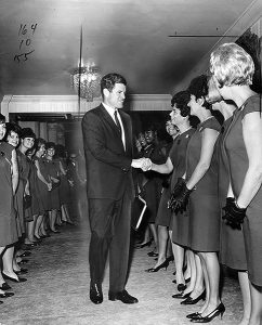 Ted Kennedy, at the Ambassador Hotel in 1966, greets political supporters of incumbent Governor Pat Brown who lost his re-election bid to Ronald Reagan in 1967. (Photographer: Lou Mack / LAPL 00105583) Bizarre Los Angeles