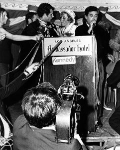 Pandemonium inside the Ambassador Hotel's Embassy Room shortly after Bobby Kennedy was fatally shot on June 5, 1968. The man at the microphone appears to be Pierre Salinger, one of Bobby's campaign managers. (LAPL 00105624) Bizarre Los Angeles