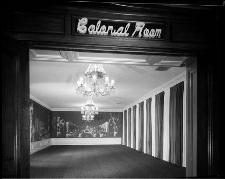 The Ambassador Colonial Room, circa 1951. Photographer: Maynard L. Parker (Bizarre Los Angeles)