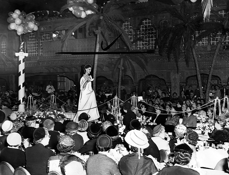 The May Co.'s fashion show inside the Ambassador Hotel's Cocoanut Grove on September 16, 1953. The model is wearing a nightgown. (LAPL 00027844) Bizarre Los Angeles