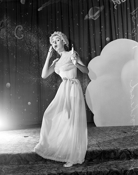 "The model is Jean Moorhead. The event is a fashion show at the Cocoanut Grove inside the Ambassador Hotel. The photographer was named ""Rustan."" And the photo is dated 01-10-54. (USC digital archive) Bizarre Los Angeles"