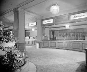 The Los Angeles Hotel Ambassador Hotel's registration desk. (Bizarre Los Angeles)