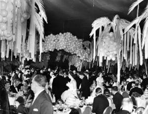 A Winter Wonderland inside the Cocoanut Grove on December 12, 1952, for the Juniors of the Social Service Auxiliary 17th Annual Candlelight Ball. The grand finale was the release of 6000 white balloons from the ceiling. (Bizarre Los Angeles)