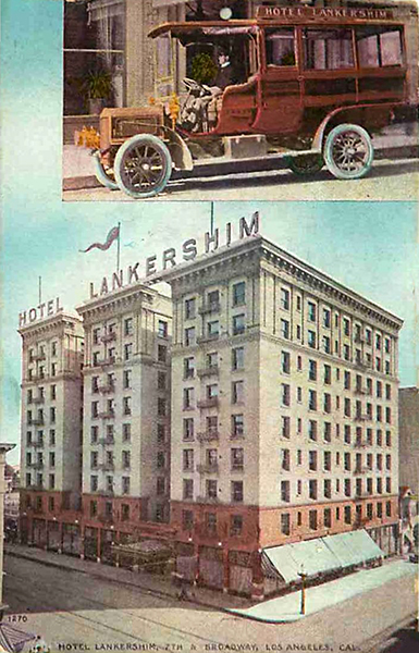 Hotel Lankershim & Jitney Bus, Los Angeles California - circa 1911 (Bizarre Los Angeles)