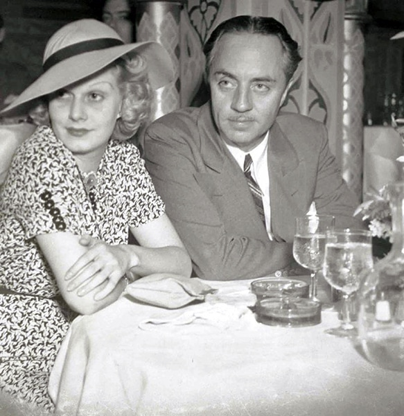 Jean Harlow and William Powell at the Cocoanut Grove in 1936. (Bizarre Los Angeles)