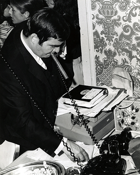 June 6, 1968. Pierre Salinger, one of Robert Kennedy's campaign managers, is seen, here, following the California primary election results from inside the Ambassador Hotel. Salinger had earlier served as a press secretary to Presidents Kennedy and Johnson as well as a very brief stint as a U.S. Senator representing California. Following Robert Kennedy's assassination, Salinger moved to France to work as a correspondent. (Bizarre Los Angeles)