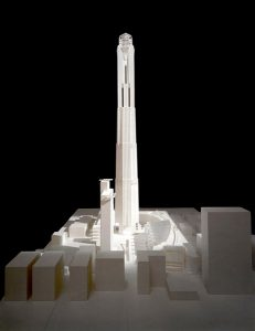 Okay, so obviously this isn't the Ambassador Hotel. Instead, it is the model of the unrealized Trump Tower, with its proposed 125 floors, which Donald wanted to build on the Ambassador Hotel site in the 1990s. (Bizarre Los Angeles)