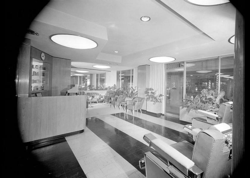 Ambassador Hotel barber shop. Undated. Photographer: Maynard L. Parker. (Bizarre Los Angeles)