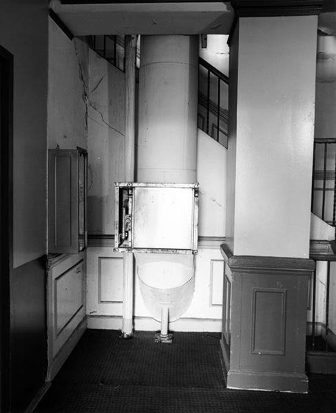 A laundry chute inside the Ambassador Hotel. 2005. Photographer: Tom Zimmerman. (Bizarre Los Angeles)