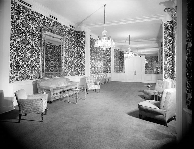 Ambassador Hotel lounge area, circa December 1951. Photographer: Maynard L. Parker (1901-1976). Bizarre Los Angeles