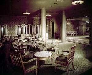 A lounge area of the Ambassador Hotel, circa March 1956. Photographer: Maynard L. Parker (Bizarre Los Angeles)