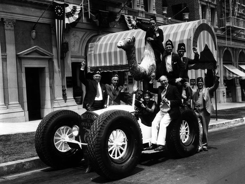 Those zany Shriners, probably gearing up for their parade. I'm guessing this photo was taken in the late 1920s. Their camel car is parked in front of the Hotel Mayan, which was completed in 1926, and is located at 3049 W. 8th Street (at the corner of New Hampshire). The building is still around, but is not in the best of shape. (LAPL: 00078989) Bizarre Los Angeles
