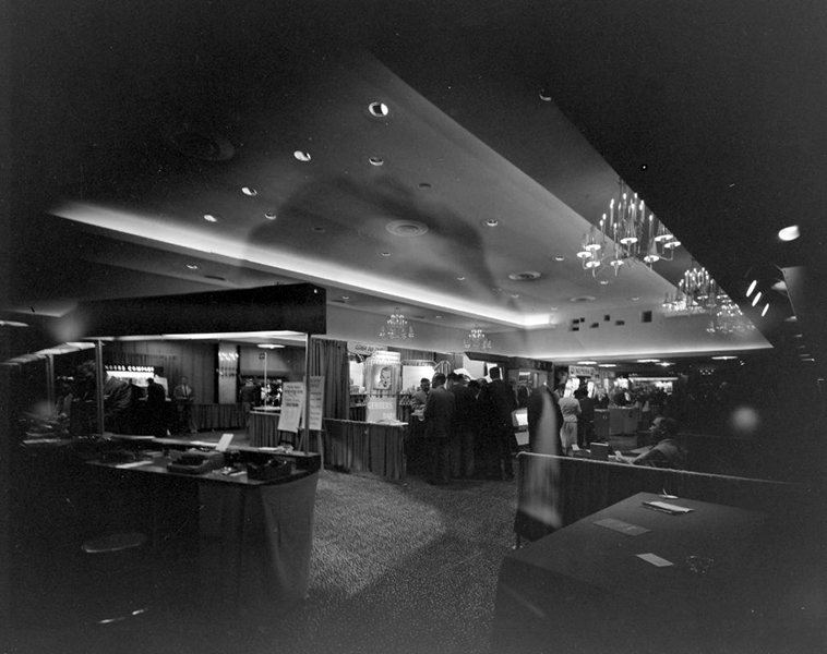 Interior of one of the Ambassador Hotel's large banquet rooms where it appears that some kind of convention is taking place. No determination on the date. (Bizarre Los Angeles)