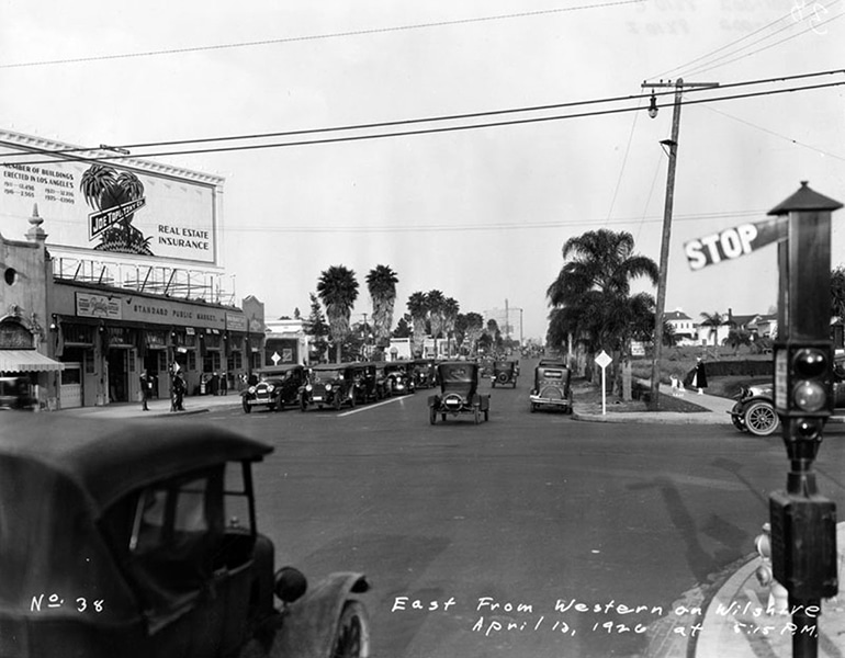 """East from Western on Wilshire, April 10, 1926, at 5:15 p.m."" (LAPL) ~ Bizarre Los Angeles"