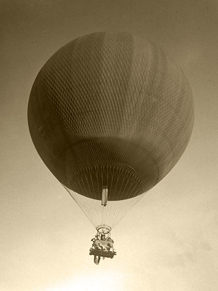 A balloon in flight at the Los Angeles International Air Meet in 1910 at Dominguez Field.