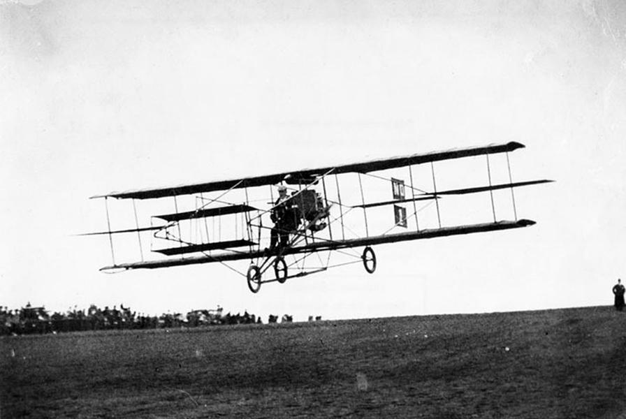 "1910 Los Angeles Air Show Charles F. Willard Curtiss ""Golden Flyer"""