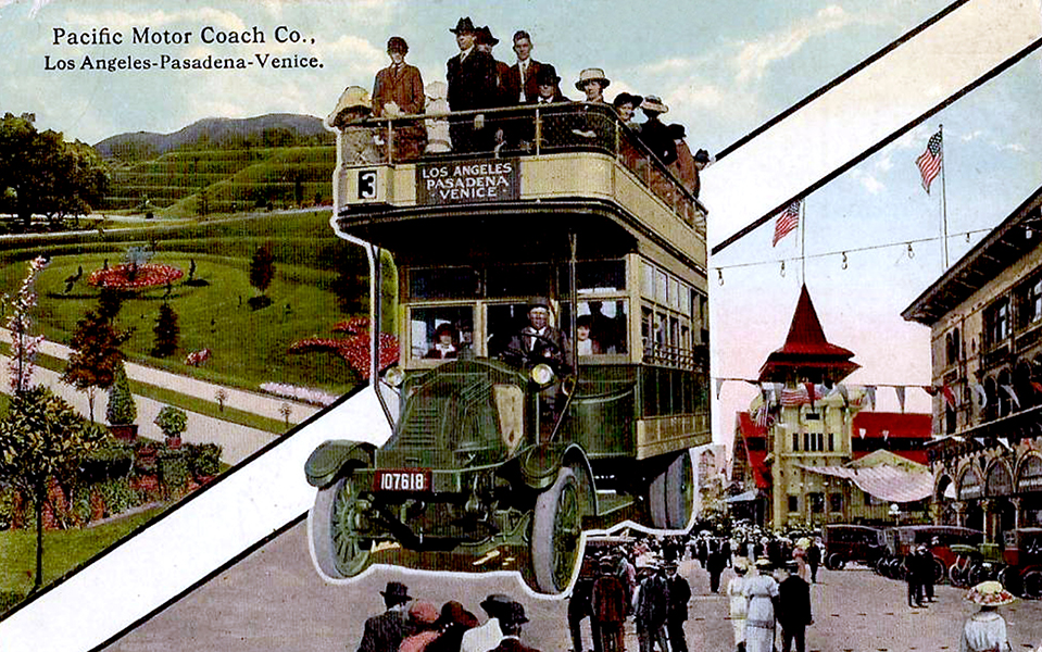 1920 Los Angeles CA Postcard Pacific Motor Coach Co.