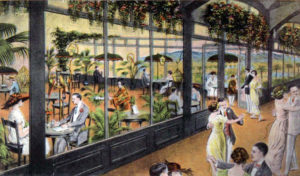 The Ambassador Hotel's Parrot Porch was one of several less formal dancing and dining rooms located on the ground floor of the Ambassador Hotel when it opened in 1921. The color scheme was blue and orange and had goldfish bowls with fish as well as exotic birds. Other dining rooms at that time included the Zinnia (sometimes spelled Xinnia) Grill and the palm room, and, of course, the 1000 seat formal dining/ballroom, which was later converted into the Cocoanut Grove. The opening house band for all three of the informal dining areas was the Max Fischer dance orchestra. (Bizarre Los Angeles)