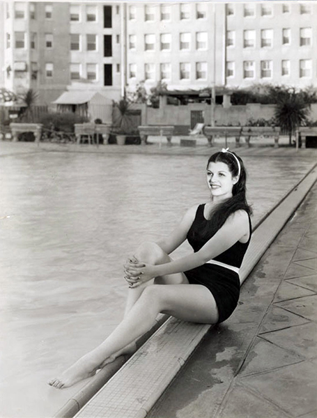 Rita Hayworth, poolside at the Ambassador Hotel, in 1936. At the time this photo was taken, she had signed with Fox as Rita Cansino (her birth name being Margarita Carmen Cansino). Bizarre Los Angeles