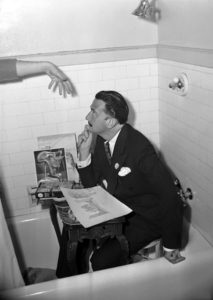 Surrealist artist, Salvador Dali works from the bathtub of an Ambassador Hotel suite because he enjoys working in small places. Photo taken June 18, 1944 (UCLA photo archive) Bizarre Los Angeles.