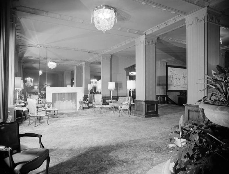 The Ambassador Hotel lobby, circa December 1951. Photographer: Maynard L. Parker, 1901-1976. (Bizarre Los Angeles)