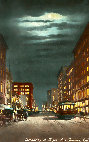 Horse Buggy Trolley Car Broadway Street Los Angeles California 1911