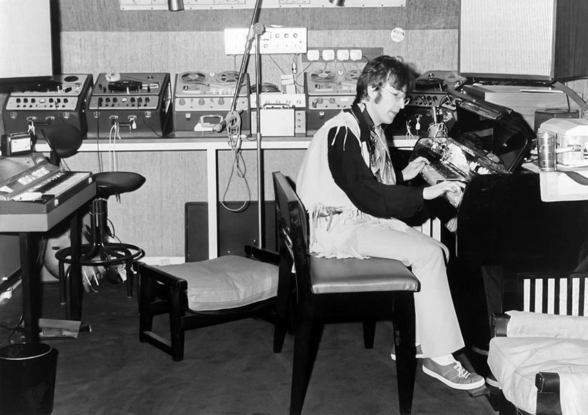 John Lennon at the Weybridge home studio, c. 1967. (Bizarre Los Angeles)