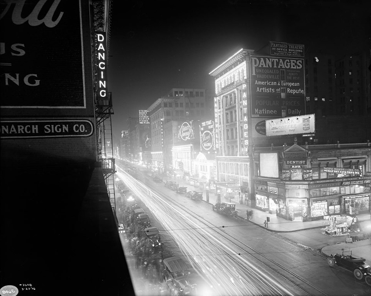 The 500 block of Broadway Street facing north from near 6th Street.  Notice the Pantages, Clune's Broadway,  and Quinn's Superba theaters?  (Bizarre Los Angeles)