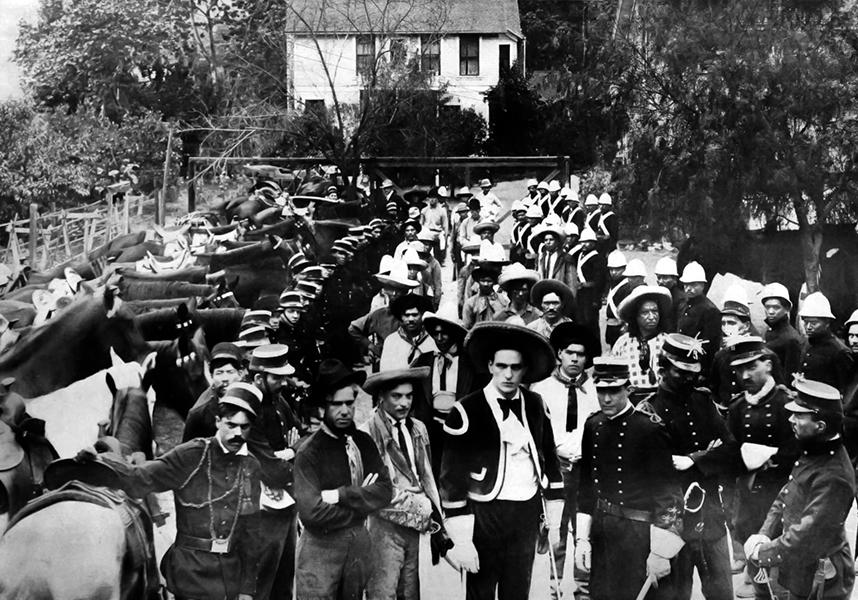 A Lubin Studios film crew on location in the Arroyo, circa 1912-1913. (Bizarre Los Angeles)