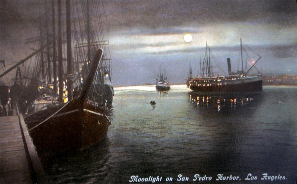 "An atmospheric postcard view of the ""Moonlight on San Pedro Harbor."" (Bizarre Los Angeles)"