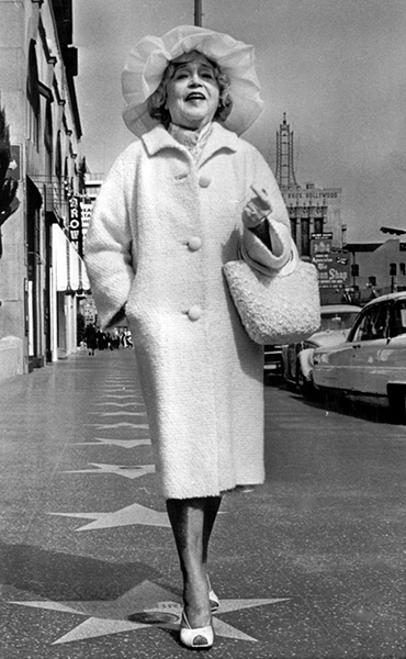 """Once you are a star, you are forever a star."" – Mae Murray, walking along Hollywood Boulevard in 1964, the year before she died. Source: Bob Thomas (Bizarre Los Angeles)"