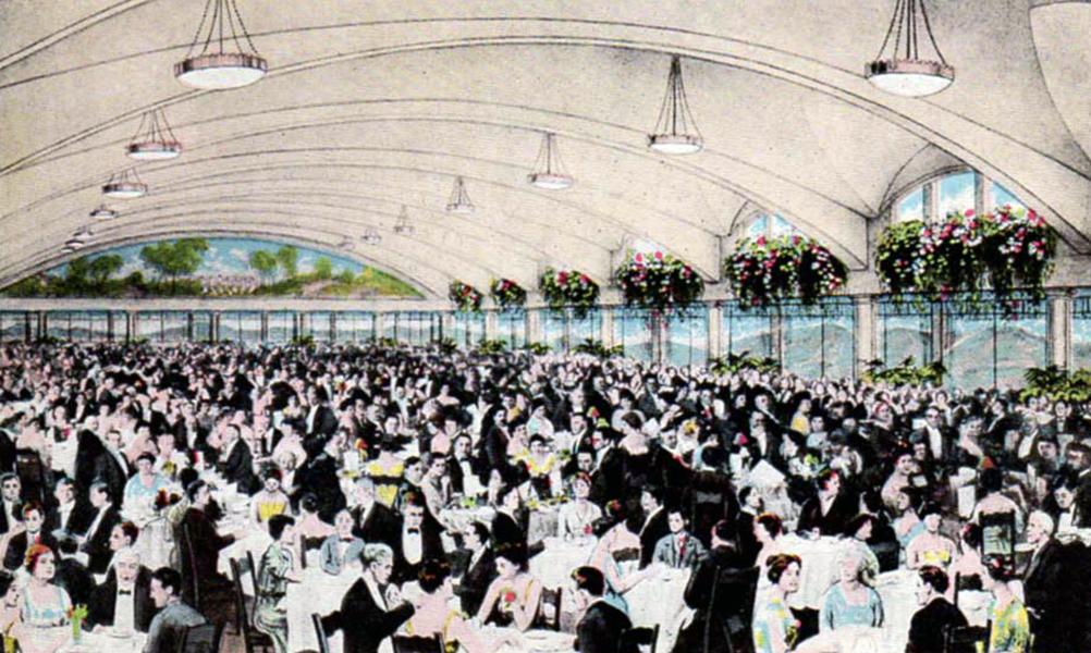 A vintage view of the Los Angeles Ambassador Hotel's original dining and ballroom, circa 1921. (Bizarre Los Angeles)