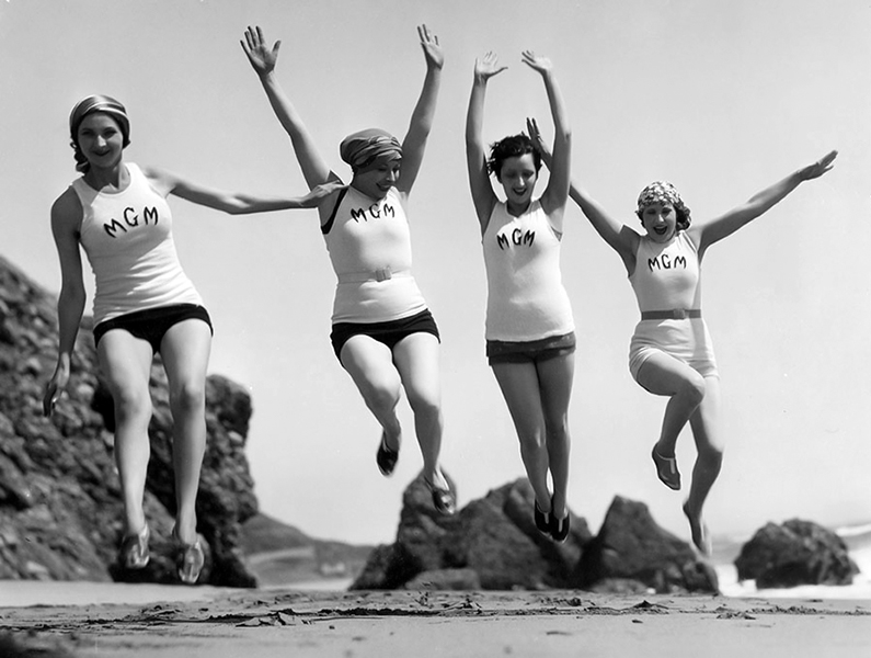 MGM contract players playing on the beach, circa 1929. Bizarre Los Angeles
