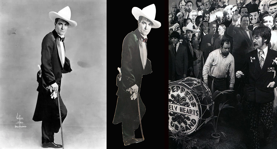 Cowboy star Tom Mix is one of the surviving cut-outs used for the Beatles' Sgt. Pepper's Lonely Hearts Club Band album cover. It still existed as late as 2005, when it sold at auction. Here is the original photo by Witzel (far left), the hand-tinted cut-out used for the album cover (middle), and, lastly, its placement within the album cover's collage (right). Bizarre Los Angeles