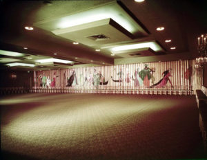 A painted partition wall in one of the ballrooms, dated March 1956. Photographer: Maynard L. Parker (1901-1976). Bizarre Los Angeles