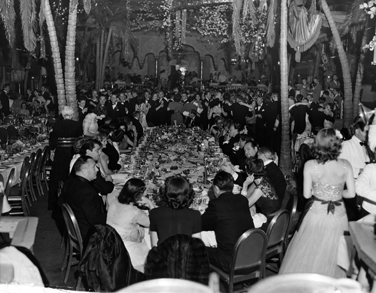"""""""Navy Relief Ball"""" at the Cocoanut Grove on June 12, 1942. (Bizarre Los Angeles)"""