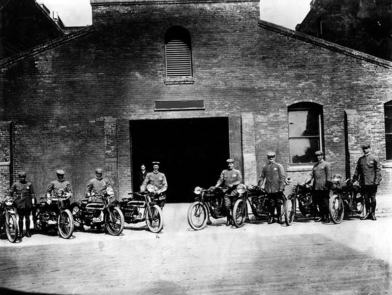 Los Angeles' first uniformed motorcycle police squad in 1913, issuing tickets to speeding motorists traveling in excess of 20 m.p.h. In 1932, the squad became part of the California Highway Patrol. (LAPL)