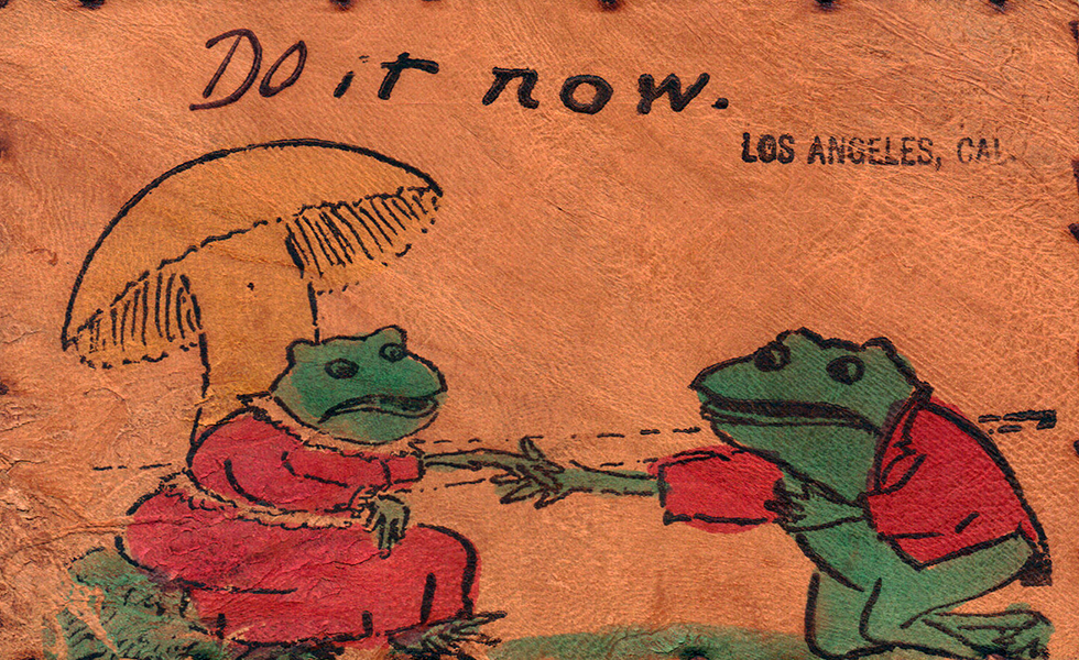 Frog went a courtin' postcard. (Bizarre Los Angeles)