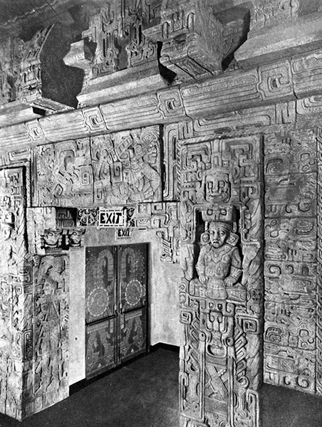 The balcony exit of the Mayan Theater (1038 South Hill Street) in August of 1927, the month and year that it opened. The building was designed by Stiles O. Clements of Morgan, Walls and Clements. The sculptor was Francisco Cornejo, a Mexican artist. (LAPL: 00015393). The building is now a nightclub. (Bizarre Los Angeles)