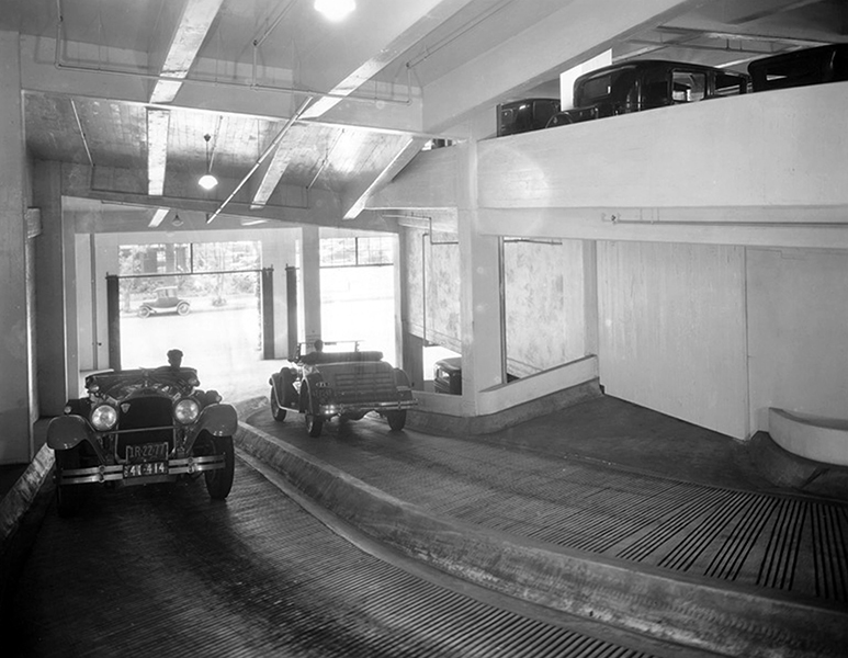 The parking garage of the Packard Building, 1000 S. Hope Street (on the corner of Hope and Olympic) in 1929. The original building was constructed in 1913, however, this building may have been part of the 1929 addition. Pretty modern looking, even by today's standards. (Photo source: California State Library). Bizarre Los Angeles