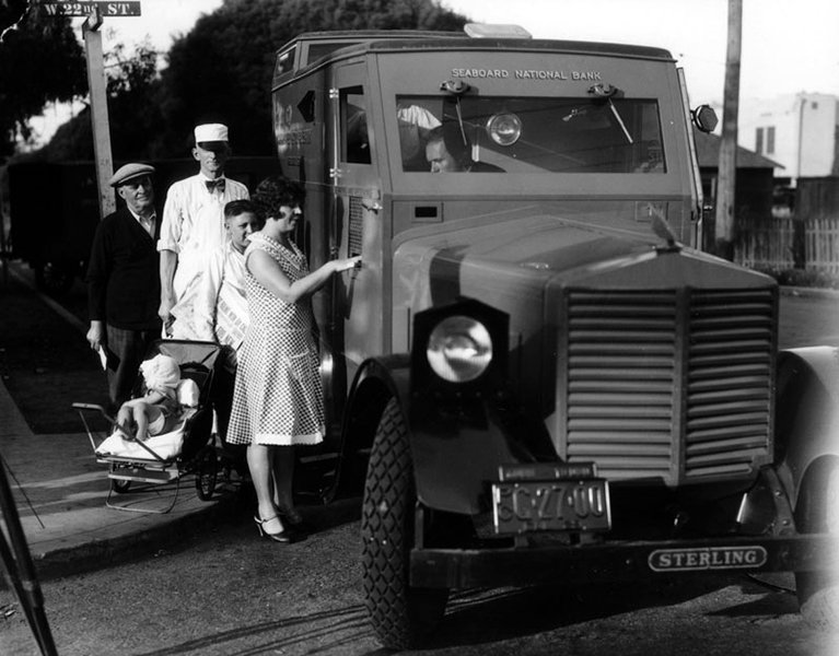 An early forerunner of the ATM machine. This cash on wheels truck was called the Roving Bank Teller, which made selected stops around Los Angeles in 1929. Built somewhat like a tank, this motor vehicle belonged to the Seaboard National Bank. Seaboard National Bank of Los Angeles, in 1936, was acquired by Bank of America. (Bizarre Los Angeles)