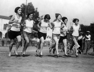 Running in heels, circa 1927. According to the Los Angeles Public Library, the runners are (left to right) Dana Robinson; Lorraine Desmond; Charlotte Tobias; Ruby Wallen; Baulah Friend and Newtie Thornton (LAPL 00053873). Bizarre Los Angeles