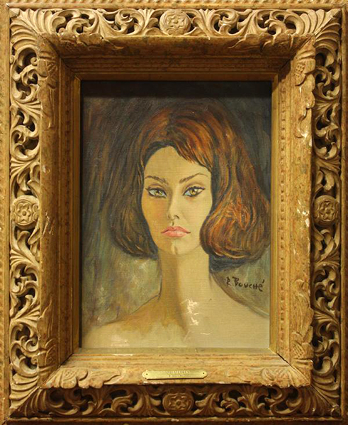 """Sophia Loren. Artist: Rene Bouche. Oil on canvas. 20.5"""" x 16.75."""" Used for the cover of Time Magazine, April 6, 1962. (Bizarre Los Angeles)"""